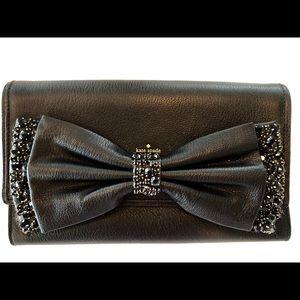 Kate Spade Rhinestone Bow Clutch Purse - Black